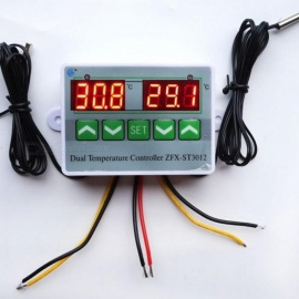 AC 220V 12V 24V Digital LED Dual Thermometer Temperature Controller Thermostat Incubator Control Microcomputer Dual Probe DC24V