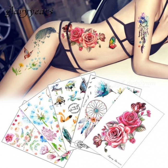 144613cfc9863 Flower Bird Decal 1pc Fake Women Men DIY Henna Body Art Tattoo Design  Butterfly Tree Branch Vivid Temporary Tattoo Sticker P-29 - Worldwide Free  Shipping - ...
