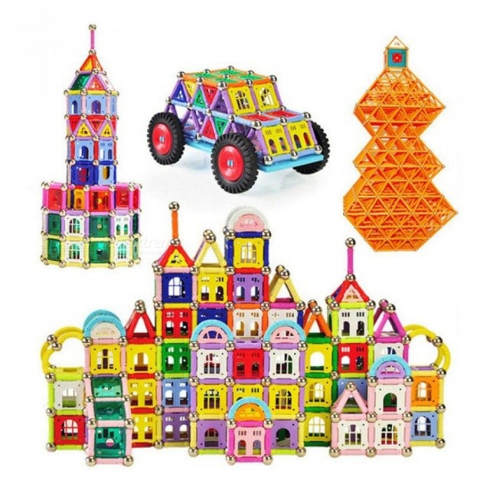 218pcs Magnetic Sticks Toy Building Kits DIY Series Intelligence Toys Set Educational Handmade Building Magnet Blocks Assemblage