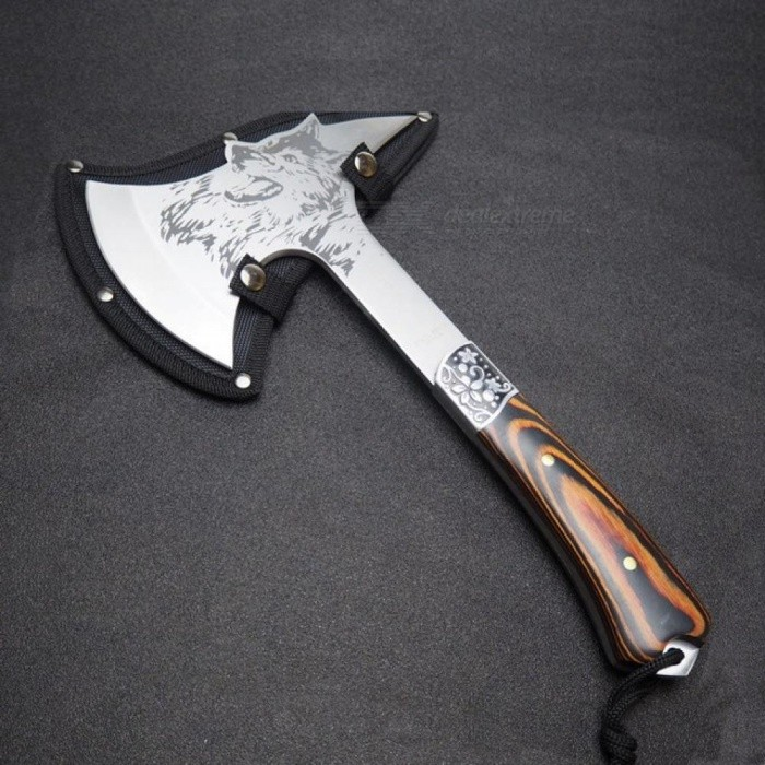 Multifunctional Axe Tomahawk Outdoor Mountain Camping Axe Survival Machete Camping Hatchet with Wood Handle