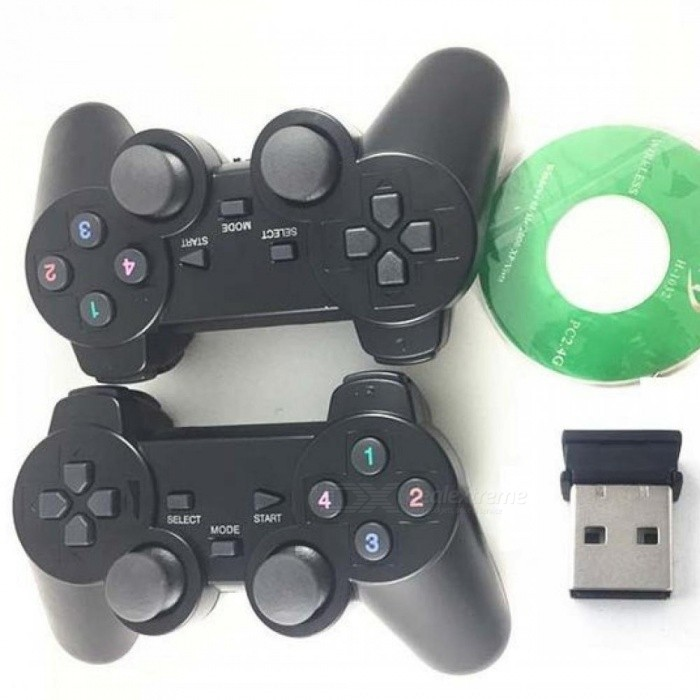 2Pcs/Lot 2 4G USB Wireless Dual Games Vibration Gamepad Controller Joystick  3D Analog Stick for PC Laptop Notebook W7/W8 Black
