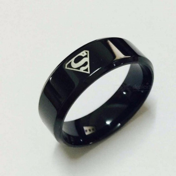 Cool Boys Girls 8mm Carbon Steel Black Superman Hero Rings for Men Women Fashion High-Quality USA Size 6-14