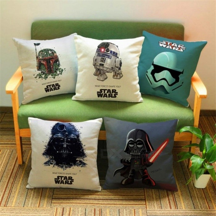Cartoon Cotton Linen Wars Decorative Cushion Cover Sofa Throw Pillow Case Chair Car Home Living Room Decoration Gift 03 440mm440mm