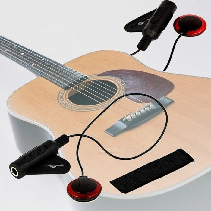New Professional Piezo Contact Clip On Microphone Pickup for Acoustic Guitar Violin Mandolin Ukulele Black &