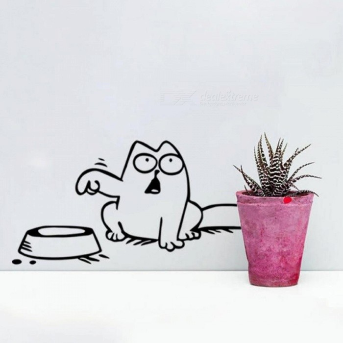 Hungry Simon's Cat Bowl JDM Decal Funny Gas Fuel Tank Cap Cover Vinyl Sticker For Car Truck SUV Window Bumper Wall Glass Laptop