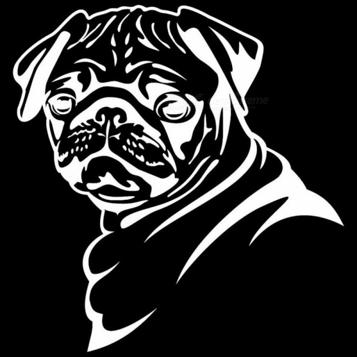 13.8*14.5CM Pug Dog Car Stickers Funny Cute Vinyl Decal Car Styling Bumper Accessories Black/Silver S1-0817