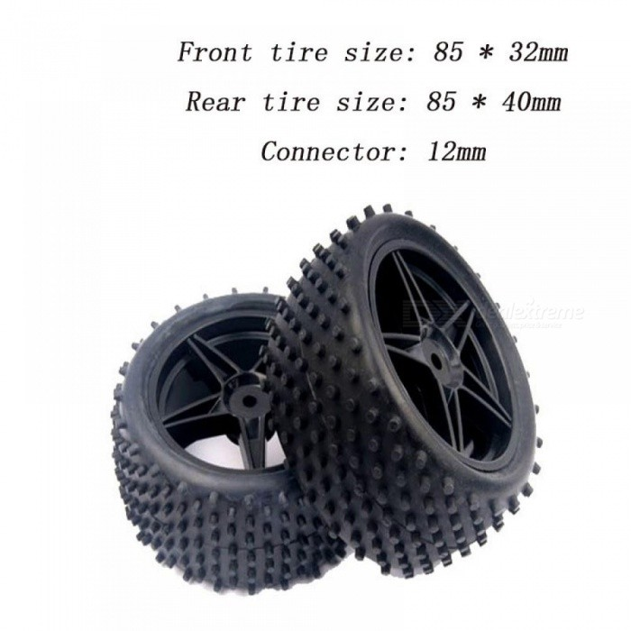 4pcs RC 1/10 Buggy Wheels & Tires 12mm Hex for RC Off Road Car HPI HSP 94107 94166 94106 Cross-Country Snow Desert Tires
