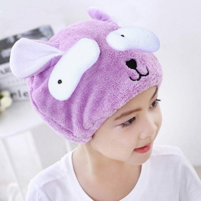 Cute Bath Towel Hair Dry Hat Shower Cap Strong Absorbing Drying Long-Velvet Ultra-Soft Children's Special Dry Hair Cap Towel