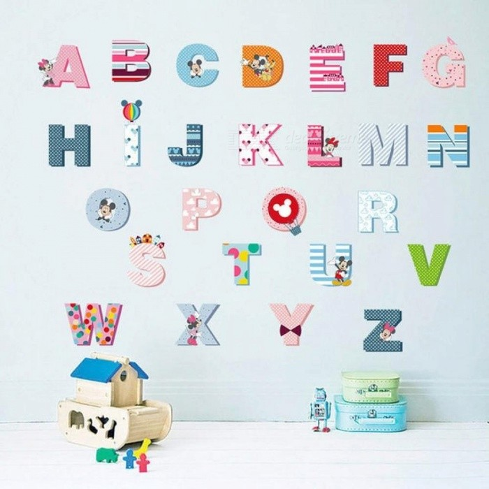 Stickers Per Bambini.26 Letters Alphabet Wall Stickers For Kids Rooms Nursery Room Decor Children Wall Decal Art Poster Gift Mural Cartoon Colorful Multi