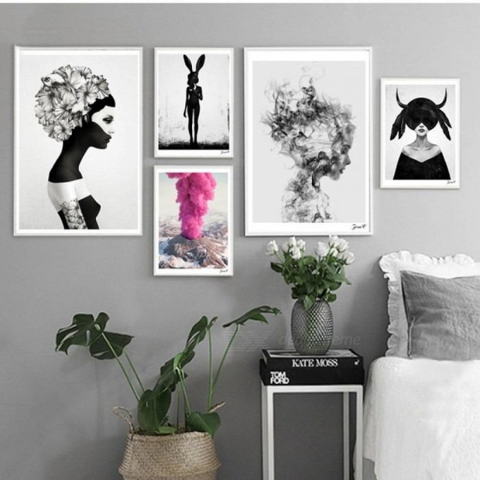 Nordic Cuadros Posters And Prints Black White Wall Art Canvas Painting Girl  Picture For Living Room