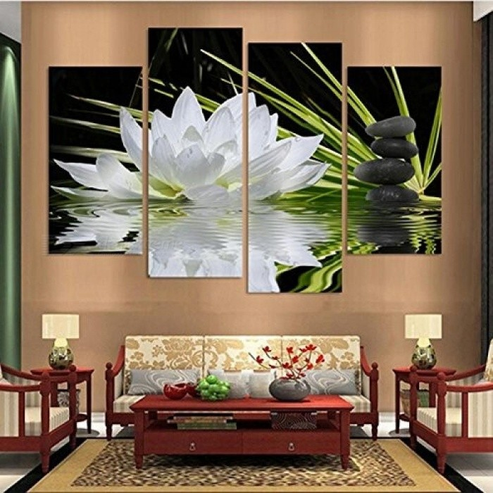 Canvas Painting Wall Art Decor Print Flower White Lotus In Black Picture With Modern