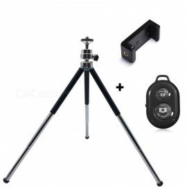 Metal Mini Tripod with Phone Holder Bluetooth Remote for Iphone Xiaomi Samsung Android Phones Tripod for Gopro DV SLR Cameras Black