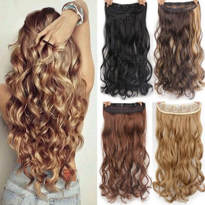 22 Long Wavy High Temperature Fiber Synthetic Clip In Hair