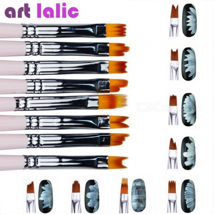 8pcs/Lot Smile Moon Shaped Acrylic French Nail Art Brush Set UV Gel Polish Gradient Color Tips 3D DIY Painting Drawing Liner Pen