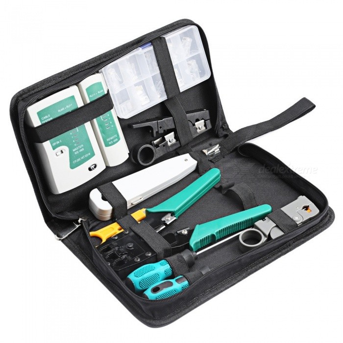 11 in 1 Computer Network Repair Tool Kit LAN Cable Tester Wire Cutter Screwdriver Pliers Crimping Maintenance Tool Set Bag