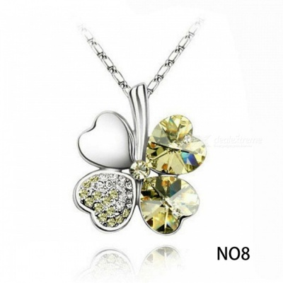 Austrian Silver Plated Crystal Four Leaf Leaves Clover Heart Rhinestones Necklace Pendant Jewellery Link Chain N08