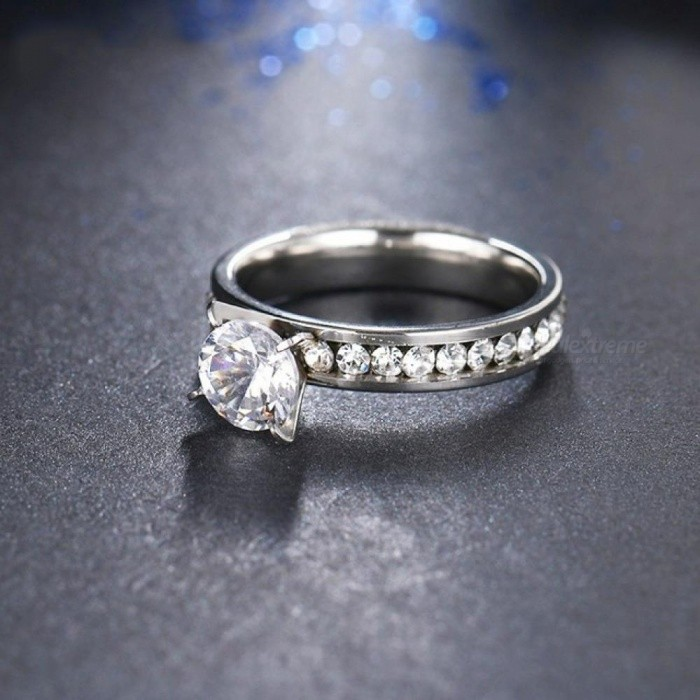 Titanium Stainless Steel Rings for Women Circle CZ Fashion Jewelry Trendy  Engagement Wedding Bands Rings f732f1b1ceb