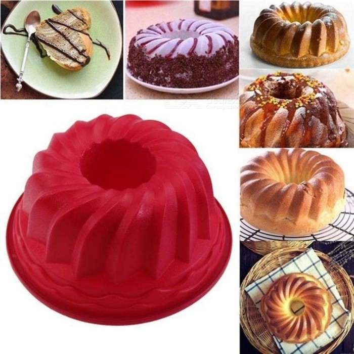 1pcs 9 Inch Spiral Silicone Bundt Pan Large Silicone