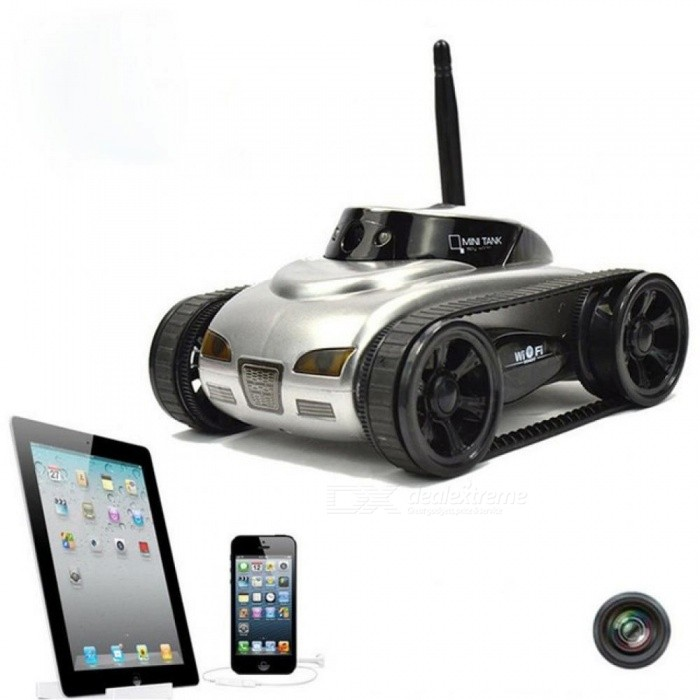 RC Mini Tank Car IOS Android Phone Remote Control 777-270 Wifi Spy Tanks  Shoot Robot with 0 3MP Camera Toys for Children Adult Gray