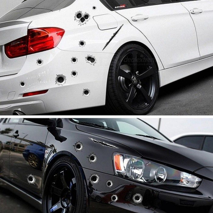Car Side Stickers 3D Bullet Hole Funny Decals Auto Motorcycle Decoration Sticker Car Styling Creative Car Stickers C - Worldwide Free Shipping - DX