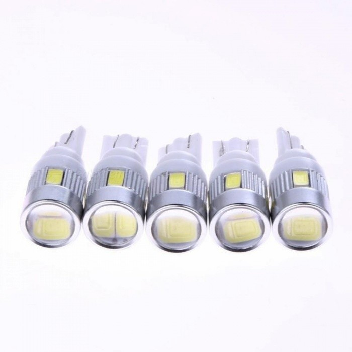 5pcs White High Power Automotive 3W LED Lights Show Wide Light T10 5630 6SMD Auto Light-emitting Diode Lamp Bulbs Accessories