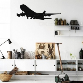 Realistic Aircraft Wall Decals Removable Airplane Vinyl Wall Sticker for Home Kids Room & Living Room Decoration 115cmx45cm/Black