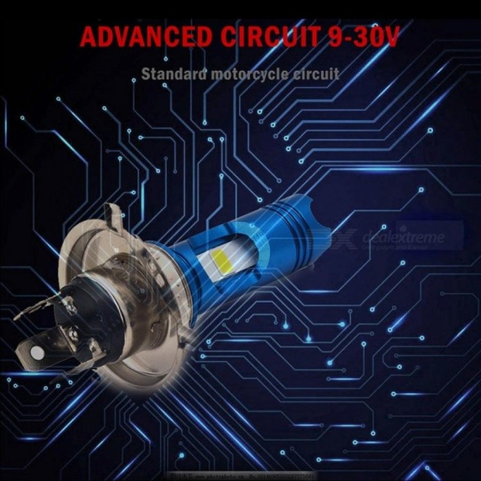 H4 LED Motorcycle Headlight Hi/Low Bulb All-in-One Lamp 12V 2 Sides H6 BA20D LED Motorcycle Headlamp Blue LED on Top