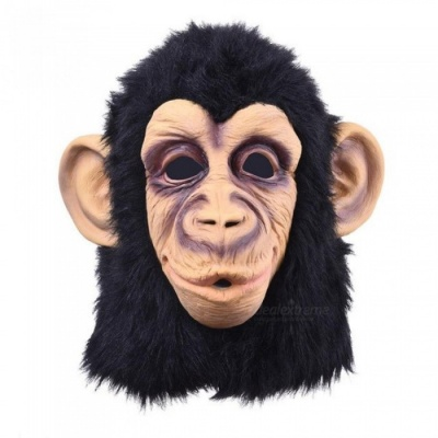 Funny  Monkey Head Latex Mask Full Face Adult Mask Breathable Halloween Masquerade Fancy Dress Party Cosplay Looks Real Monkey Head Latex Mask