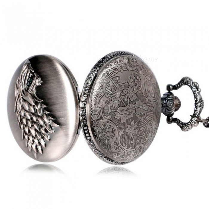 Necklace Watches Gray Tone Honorable Stark House Wolf Kwarts Zakhorloge Pendant Game of Thrones Theme Long Chain