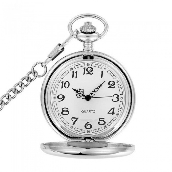 Flower Butterfly Pocket Watch Silver Smooth Quartz Pocket Watch Thick Chain Gift for Men