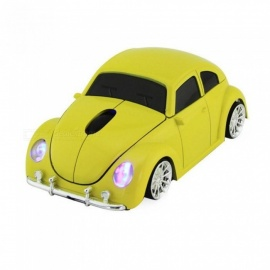 Wireless Computer Mouse Cool Beetle Car Shape Mice 1600DPI Optical Gaming Mouse with USB Receiver for PC Laptop Desktop Black