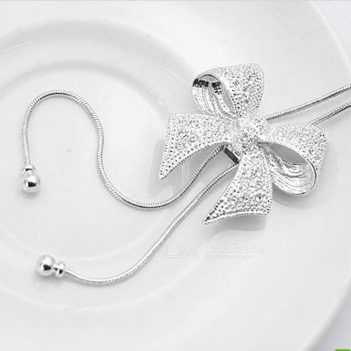 Butterfly Crystal Necklace Rhinestone Statement Shiny Bow Pendant Silver Plated Butterfly Chain Necklace Jewelry