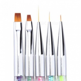 5 Pcs/Set Nail Art Acrylic Flower Design Painting Drawing Liner Brushes Dotting Pen Manicure Tools Double End 5 Pcs/Set