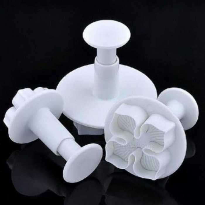 3Pcs/Set Silicone Hydrangea Fondant Cake Decorating Sugar Craft Plunger Cutter Flower Blossom Mold Home Cake Tools