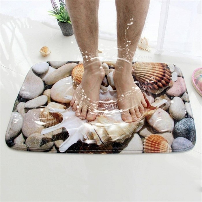 3D Seashell Bath Mat Flannel Absorbent Non-Slip Doormat for Entrance Door Absorbent Mats for Bathroom