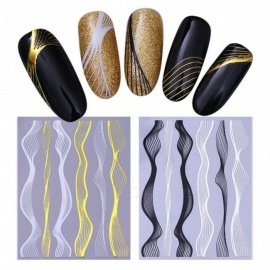 Gold Metal Wave Strip 3D Nail Sticker Black Silver Multi-size Lines Adhesive Transfer Sticker Manicure Nail Art Decorations Color 1