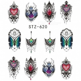 1pcs Nail Water Decals Nail Art Sticker Butterfly Bee Summer Watermark Adhesive Sliders Wraps Decoration Manicure STZ620