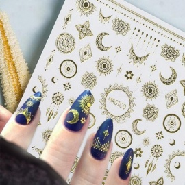 10.3x8cm Adhesive Nail Art Decorations Ultrathin 3D Nail Stickers Star/Moon Image Transfer Decal Gold Color Gold
