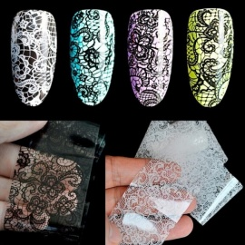 Lace Flower Pattern Nail Foil Decals Black & White Gel DIY 3D Sticker Polish Nail Art Decoration Tool without Adhesive black