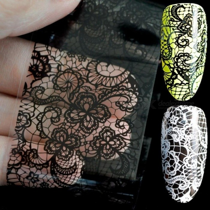 Lace Flower Pattern Nail Foil Decals Black & White Gel DIY 3D Sticker Polish Nail Art Decoration Tool without Adhesive