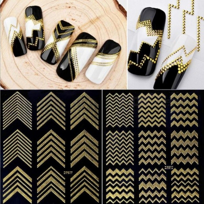 3D Nail Stickers Stripes Wave Line DIY Nail Art Adhesive Manicure Transfer Sticker Water Slide Nail Tips Stickers Gold Metal