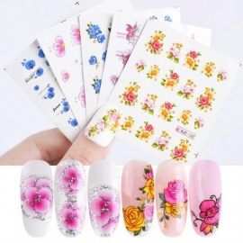 55pcs Flower Glitter Nail Sticker Water Transfer Decal Decoration DIY Adhesive Tips Manicure Nail Art Decals 55pcs Flower Glitter Nail Sticker