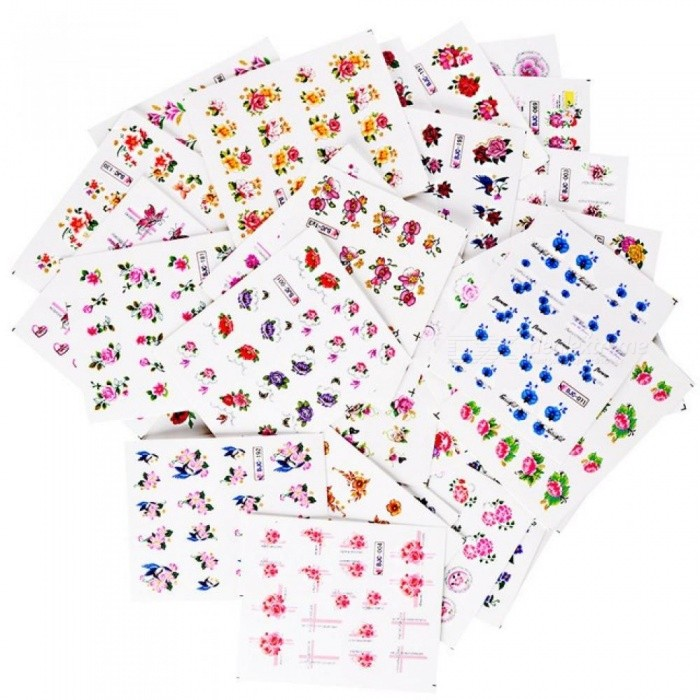 55pcs Flower Glitter Nail Sticker Water Transfer Decal Decoration DIY Adhesive Tips Manicure Nail Art Decals