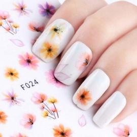 1 Sheet Gradient Flower Series 3D Nail Stickers Decals Floral Cartoon Adhesive Manicure Stickers Charm Nail Art Decoration F021