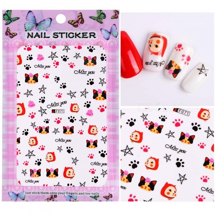1 Sheet Embossed Adhesive 3d Nail Stickers Blooming Flower 3d Nail