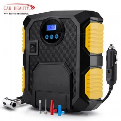 Digital Tire Inflator DC 12 Volt Car Portable Air Compressor Pump 150 PSI Car Air Compressor for Car Motorcycles Bicycles  Black+Yellow