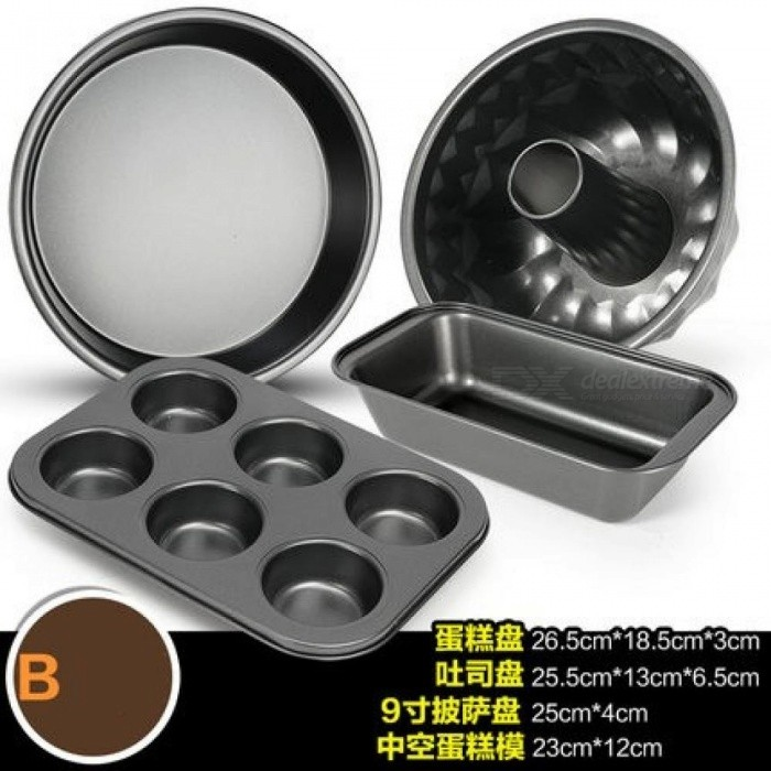 Non-stick Bakeware Tools Carbon Steel Cake Pan Baking Mold Cake Mold Decorating Tool Microwave Oven Suit Baked Kit JJ137