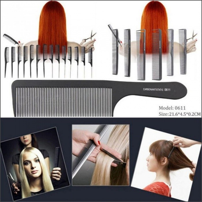 Black Hairdressing Hair Stylist Salon Carbon Combs Heat Resistant Hair Cutting Tool Cutting Comb Carbon Antistatic Comb