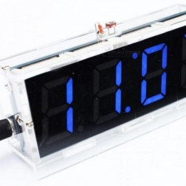 blaue LED elektronische Digitaluhr Zeit Thermometer Mikrocontroller Digitaluhr DIY Kit mit Tutorial blau
