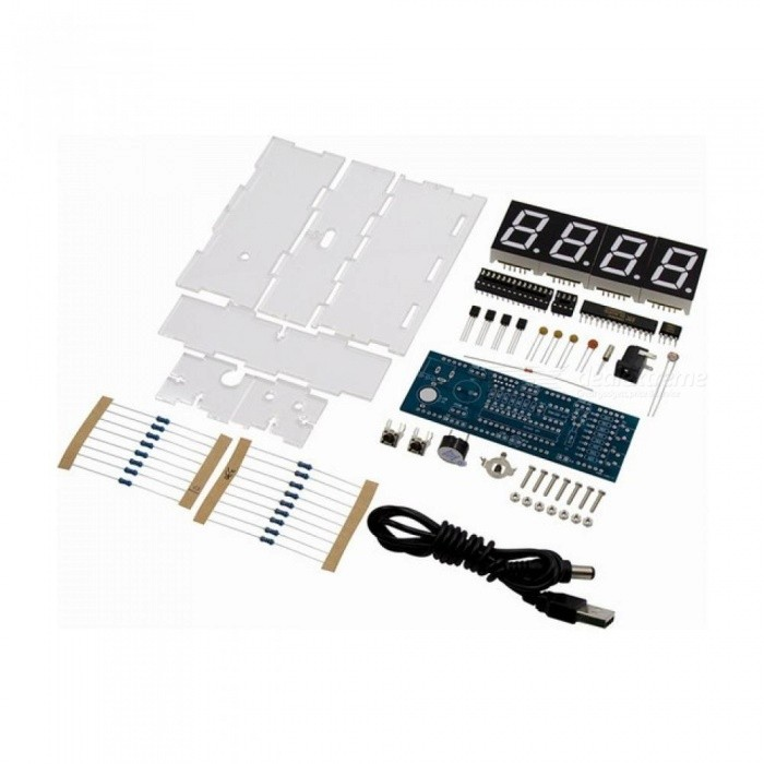 White Color LED Electronic Clock Microcontroller Digital Clock Time Thermometer DIY Kit With PDF Tutorial
